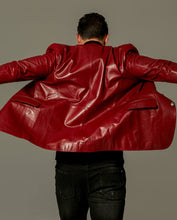 Load image into Gallery viewer,  Classic Red Buttoned Goatskin Blazer Jacket