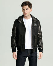 Load image into Gallery viewer, Detachable Embroidered Appliqued Minimal Goatskin Leather Jacket