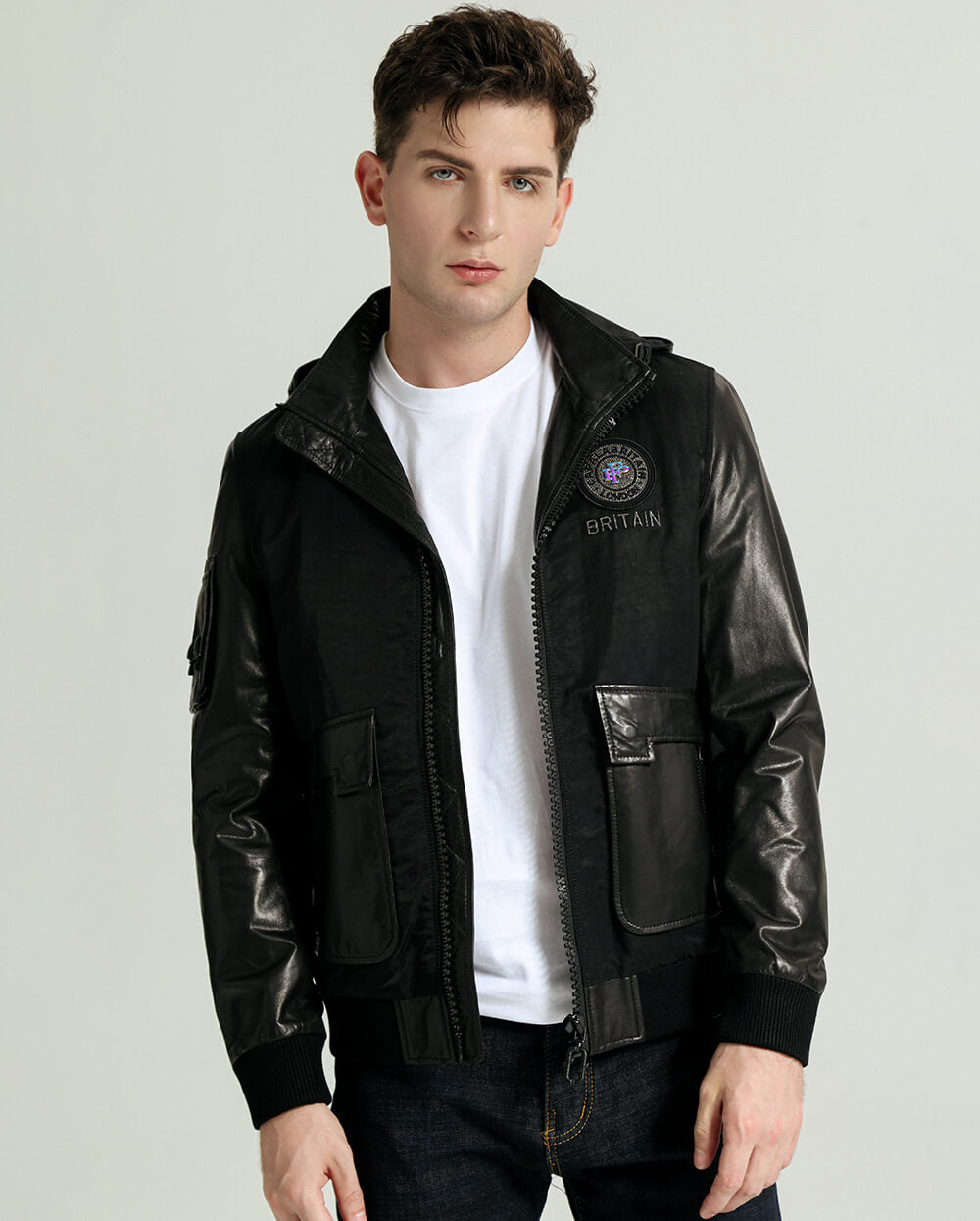 Detachable Embroidered Appliqued Minimal Goatskin Leather Jacket