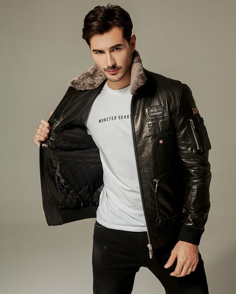 Detachable Lamb Fur Goatskin Cafe Racer Jacket
