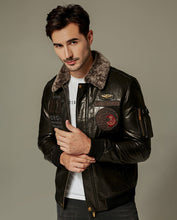Load image into Gallery viewer, Embroidered Appliqued Goatskin Bomber Moto Jacket
