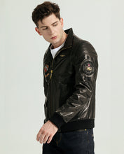 Load image into Gallery viewer, Embroidered Stand Collar Vegetable Tanned Goatskin Jacket