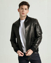 Load image into Gallery viewer, Embroidered Vegetable Tanned Goatskin Baseball Jacket with Sleeve Pocket