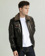 Load image into Gallery viewer, Embroidered Vegetable Tanned Goatskin Baseball Jacket with Knitted Baseball Collar