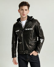 Load image into Gallery viewer, Fashionable Printed Vegetable Tanned Goatskin Moto Jacket with Detectable Hood