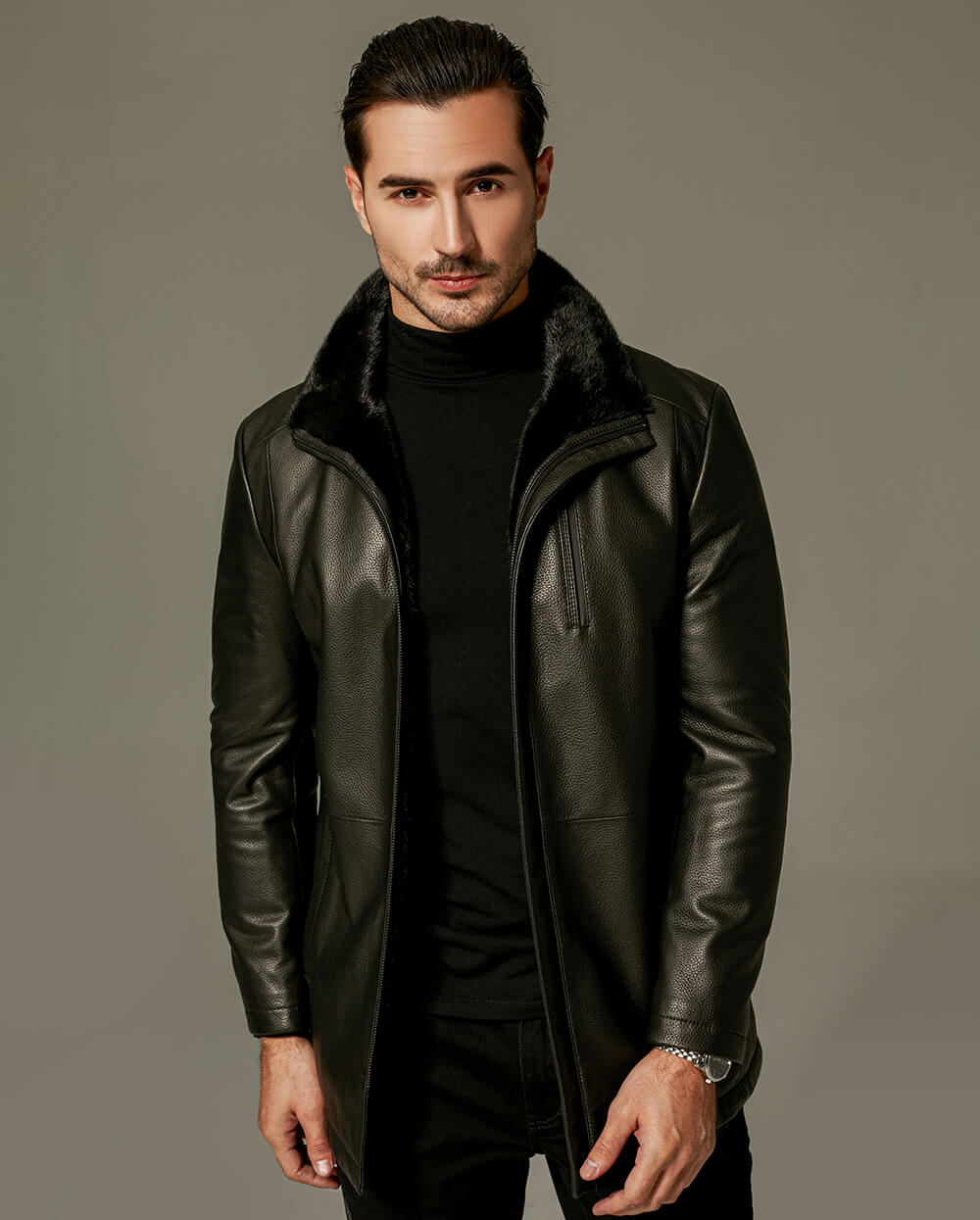 Goatskin Wind Jacket with Mink Fur Lining