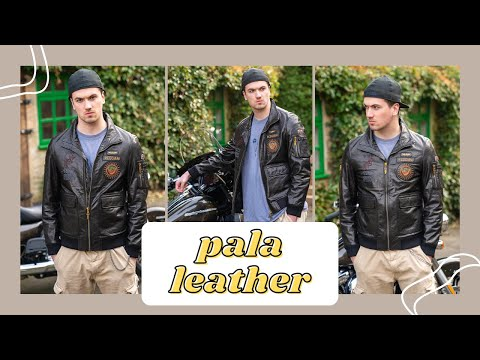P PALALEATHER Fashionable Embroidery Goatskin Casual Moto Jacket