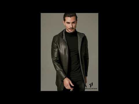 P PALALEATHER Businessman Hooded Leather Coat with Poly Lining