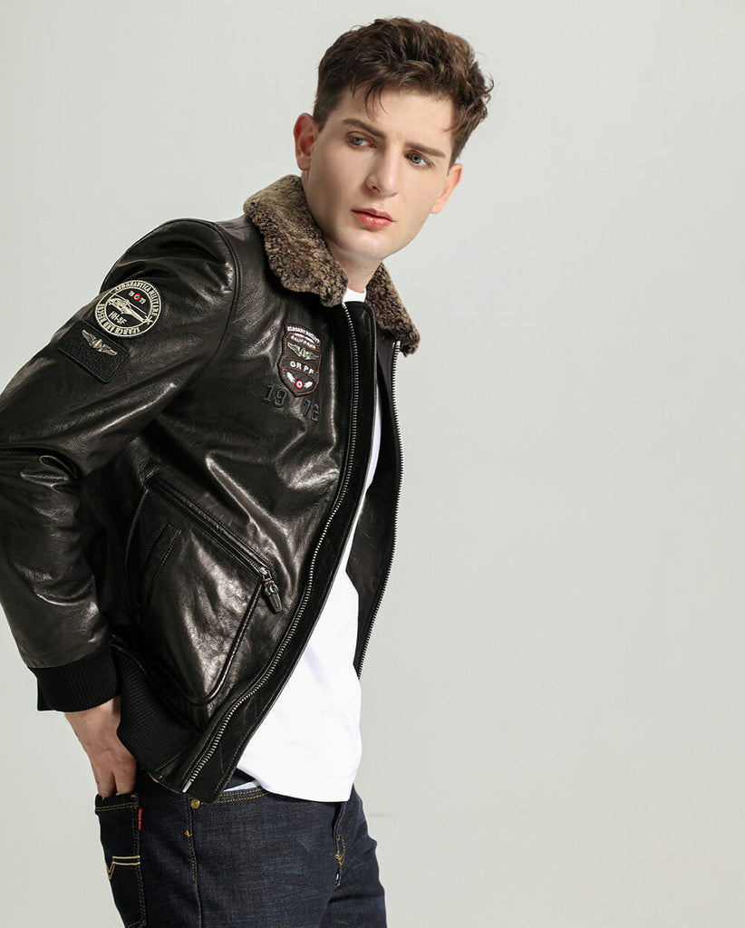 Lamb Fur Collar Vegetable Tanned Goatskin Bomber Jacket