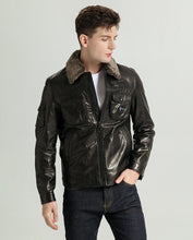 Load image into Gallery viewer, Lamb Fur Collar Vegetable Tanned Goatskin Jacket