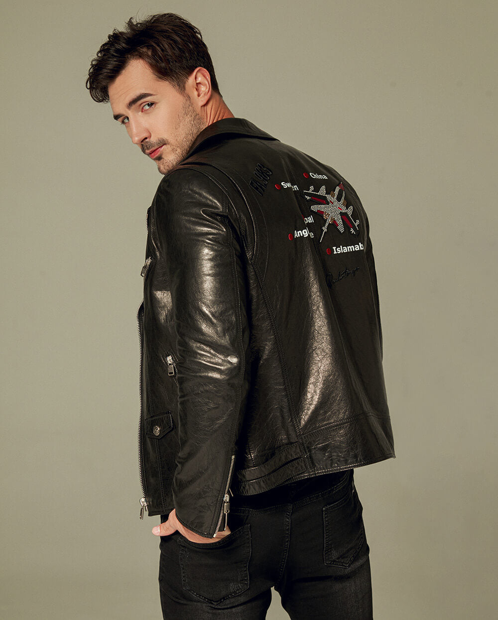 Printed Embroidered Vegetable Tanned Goatskin Moto Jacket