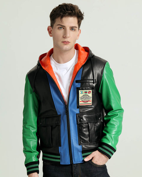 Stylish Multi Color Hooded Sheepskin Leather Jacket