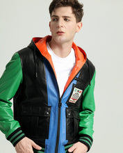 Load image into Gallery viewer, Stylish Multi Color Hooded Sheepskin Leather Jacket