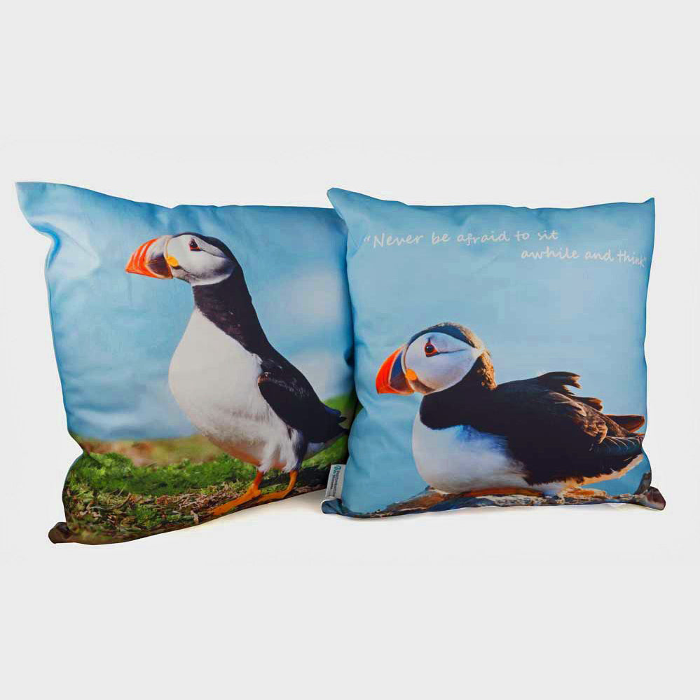 Pembrokeshire Puffin Printed Cushion