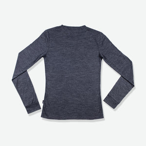 Merino Groundswell Women's Long Sleeve Tee (Heather Black)