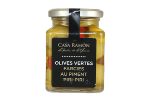 Verrine d'olives vertes farcies au piment