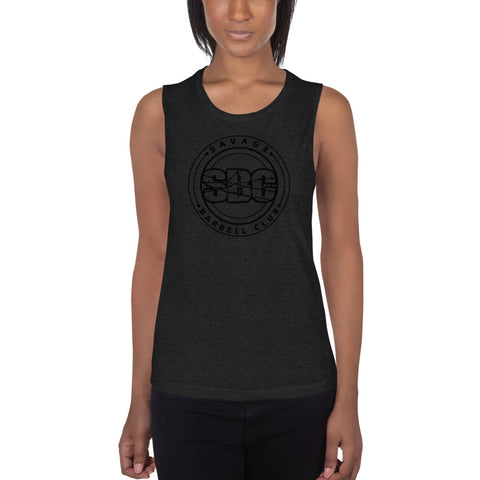 SBC Ladies' Muscle Tank - Black Print