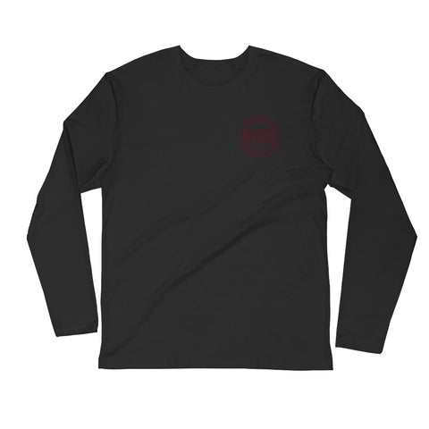 Savage Pillars Long Sleeve Fitted Crew - Burgundy Print