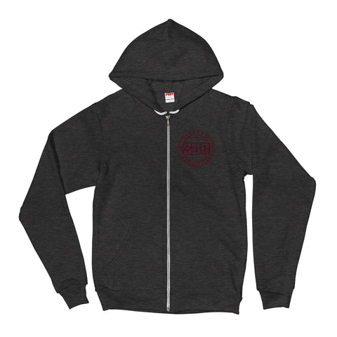 Savage Pillars Zipper Hoodie - Burgundy Print