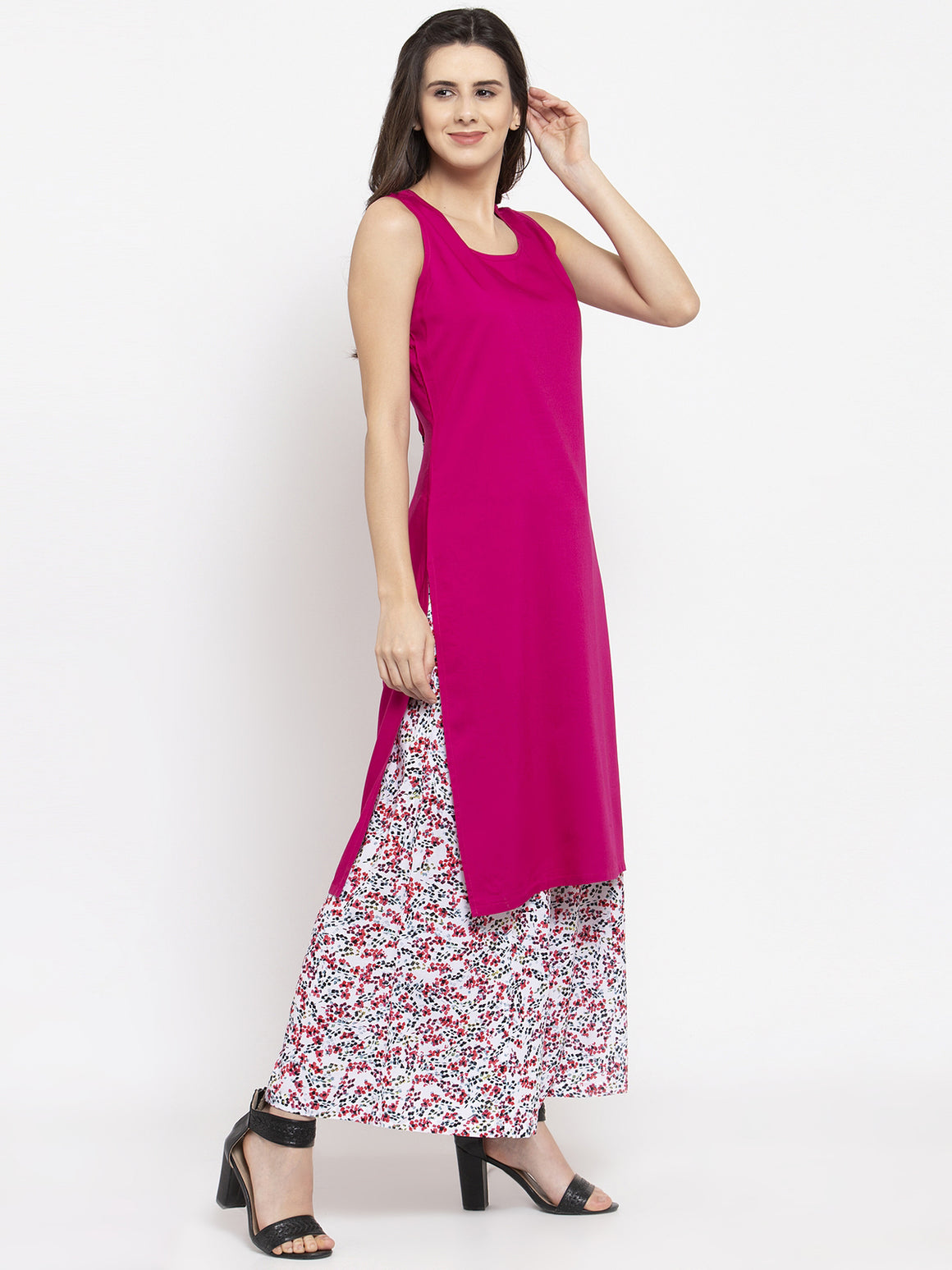 Ayaany Women Pink Off sleeves Side Slit Kurta