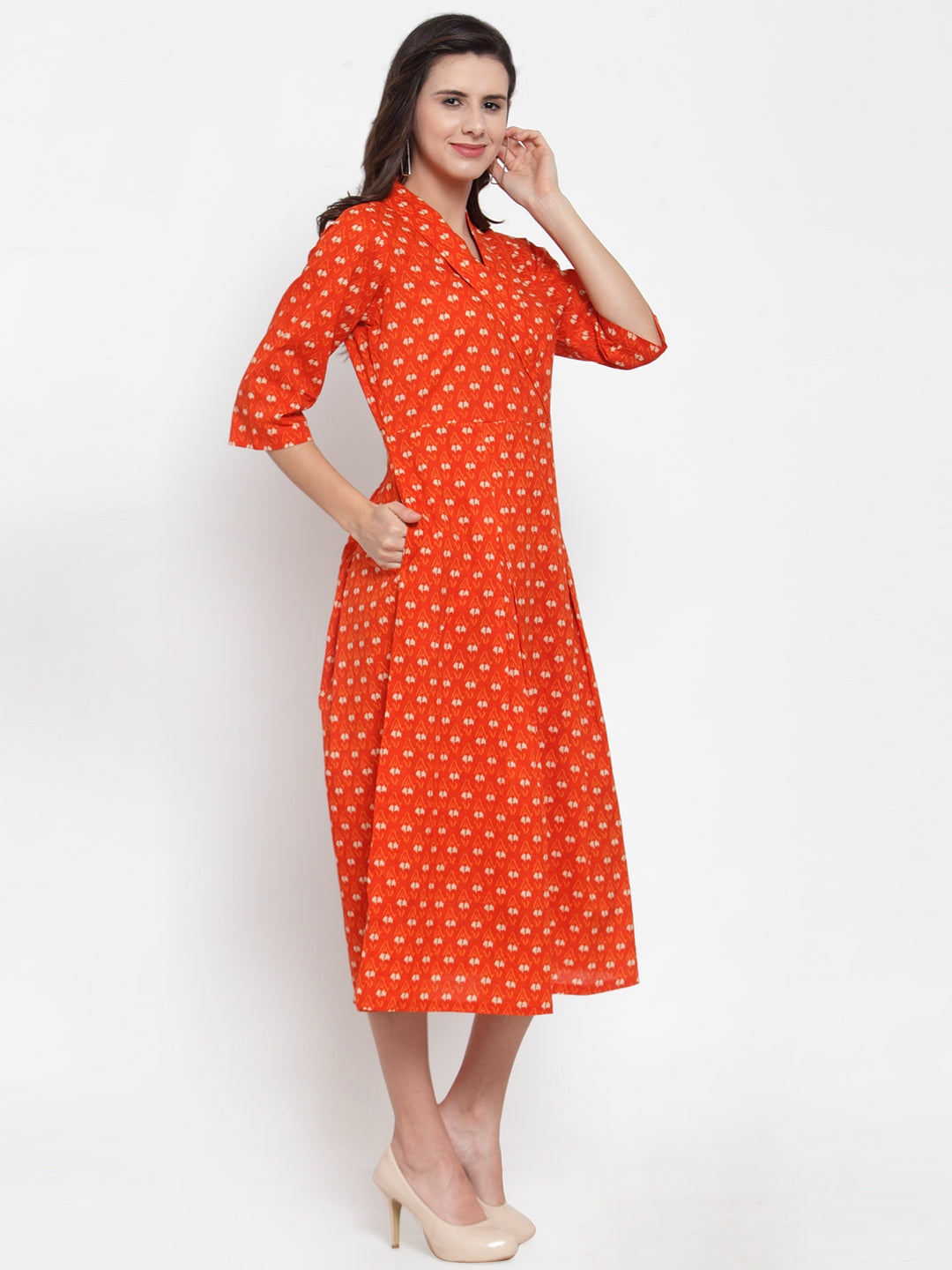 Ayaany Women Orange Casual Dress