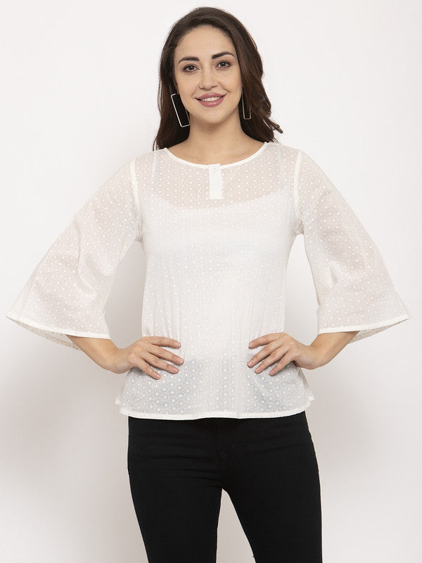 Ayaany Women White Smart Casual Top