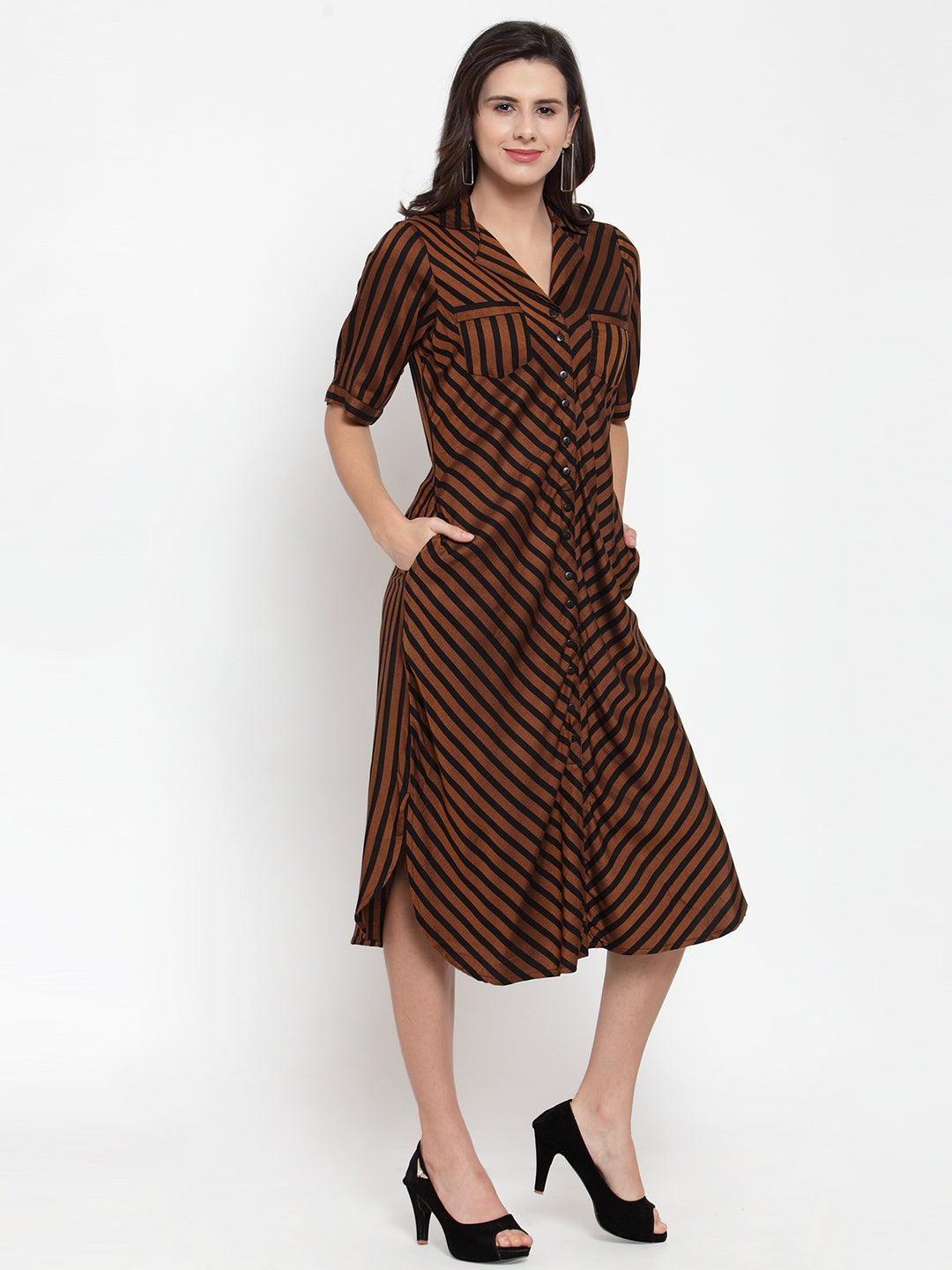 Ayaany Women Brown Smart Casual Dress