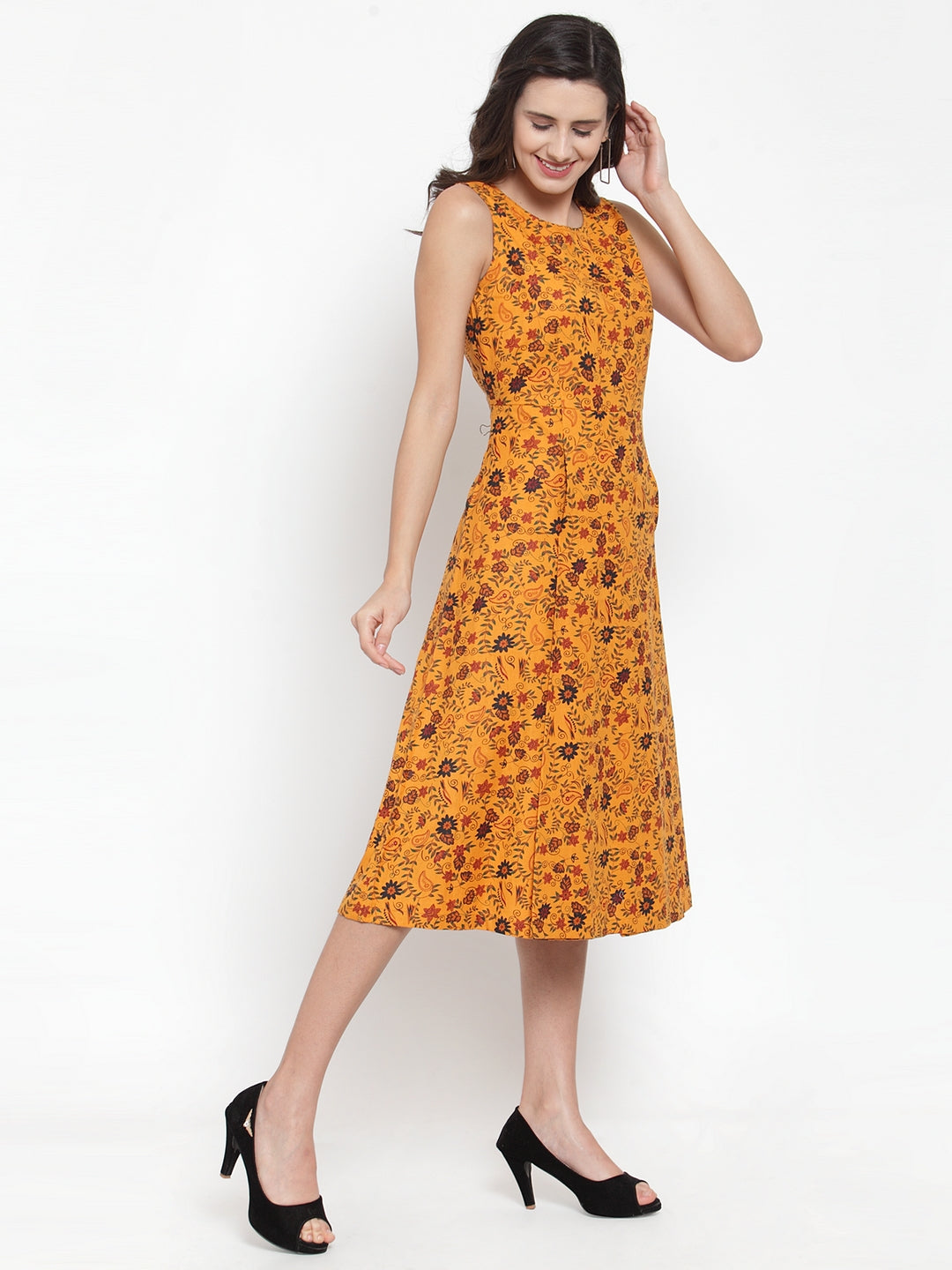 Ayaany Women Mustard Smart Casual Dress