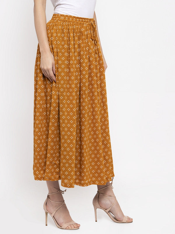 Ayaany Women Mustard Smart Maxi Skirt