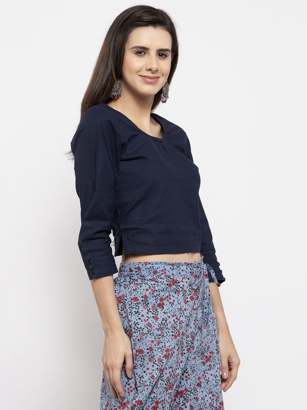 Ayaany Women Blue Smart Casual Blouse