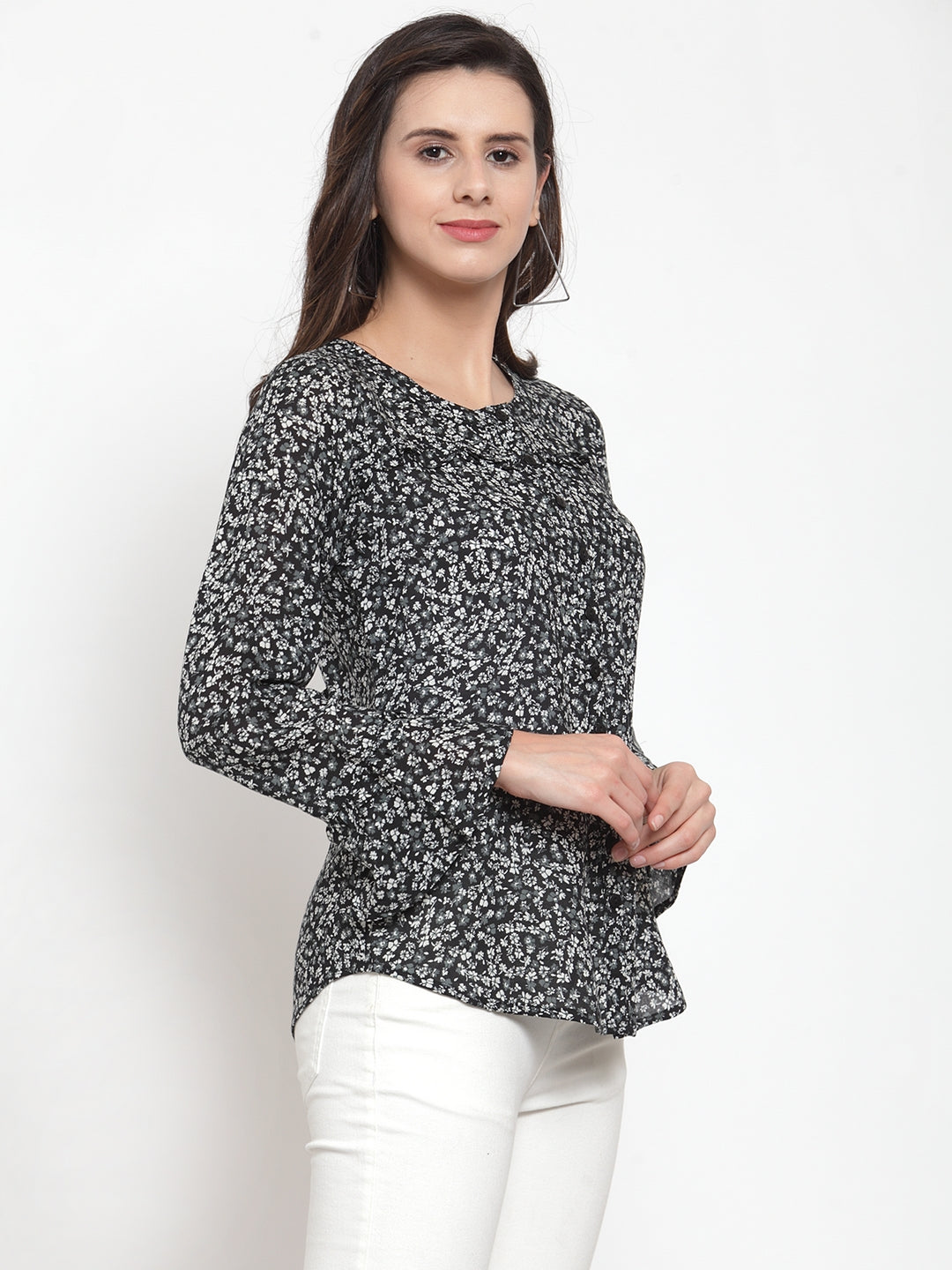 Ayaany Women Black Printed Casual Top