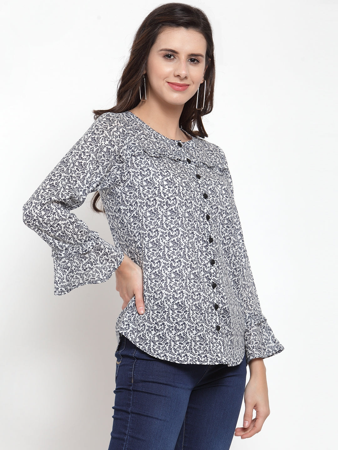 Ayaany Women White Printed Casual Top