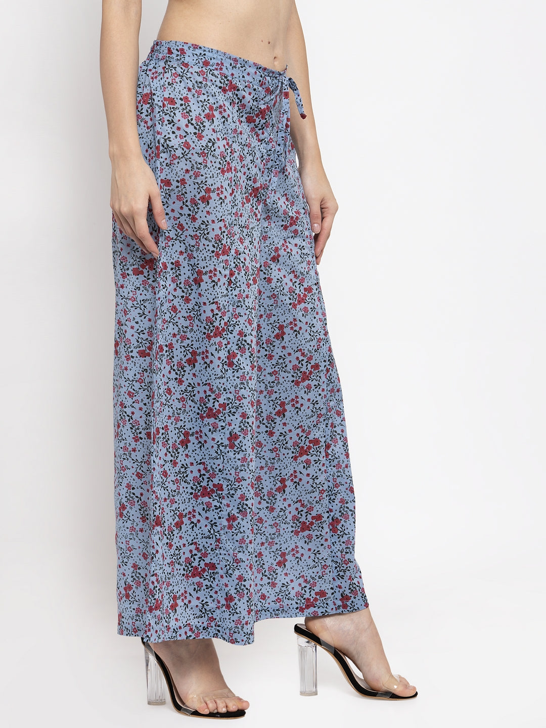 Blue Floral Casual Flared Palazzo