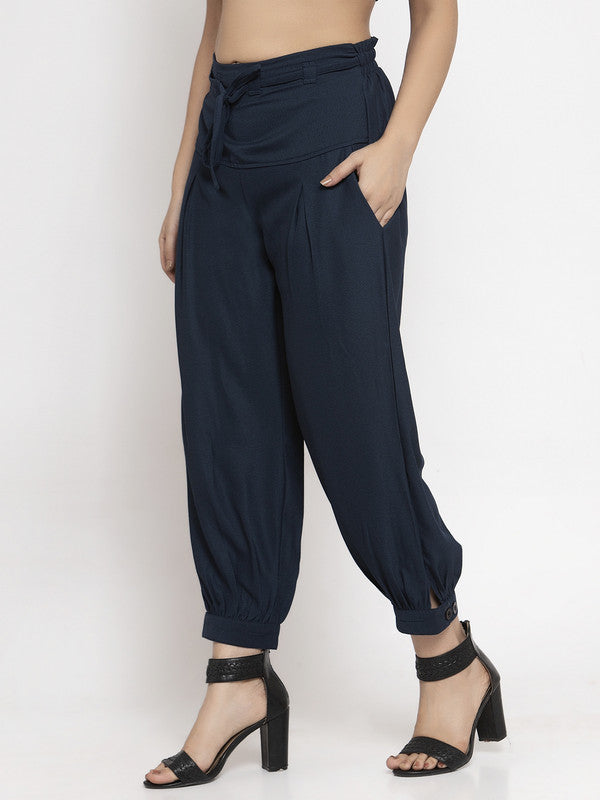Ayaany All Purpose Navy Blue Crop Pants with Smart Fit