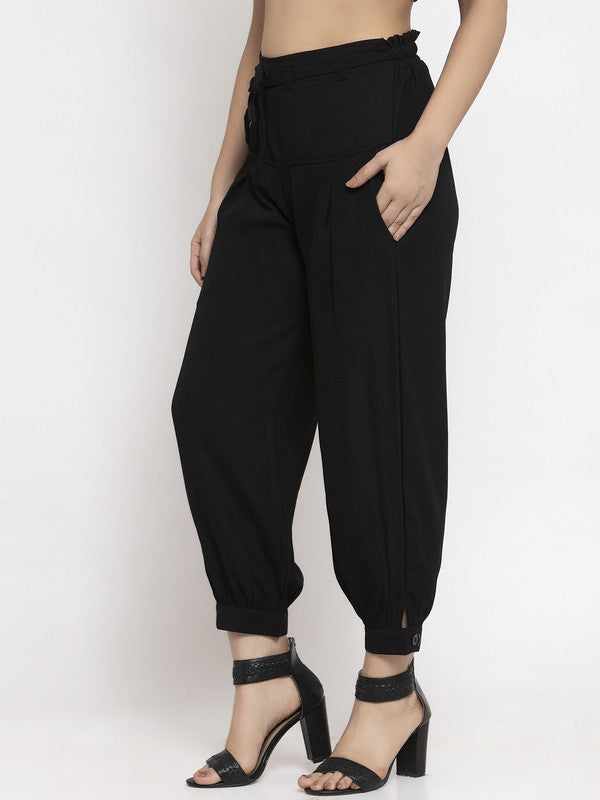 Ayaany All Purpose Black Crop Pants with Smart Fit