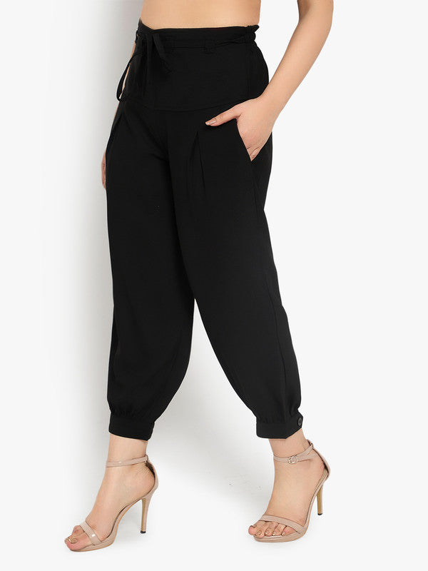 Ayaany Women's Black All Purpose Crop Pants with Smart Fit