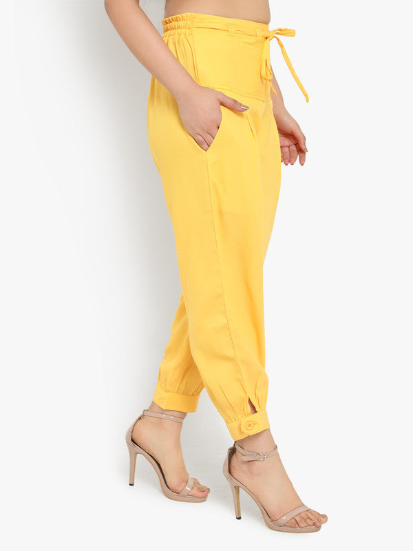 Ayaany Women's Yellow All Purpose Crop Pants with Smart Fit