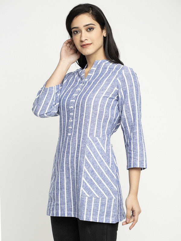 Ayaany Striper Casual Summer Top with Pockets