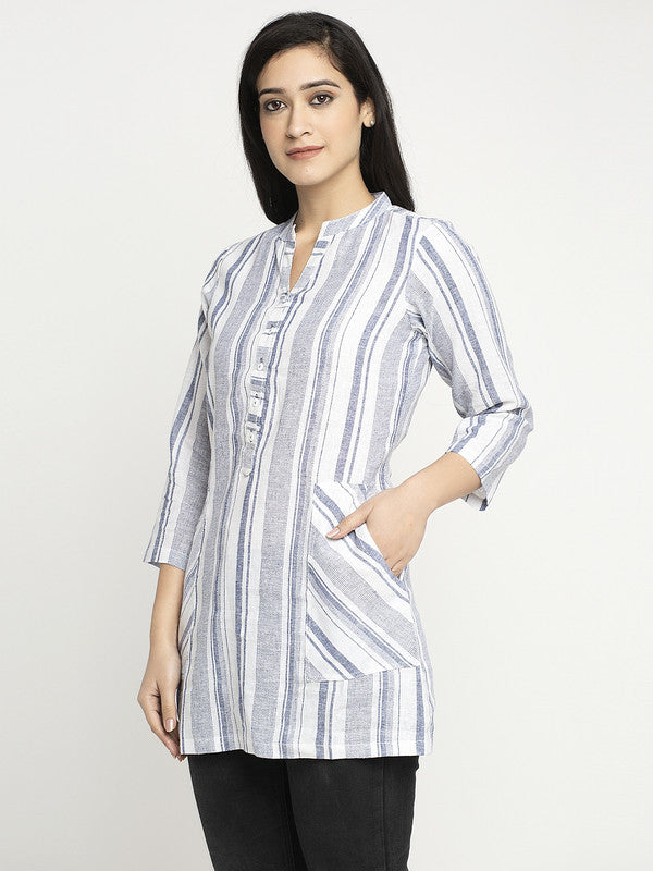 Ayaany Striper Casual Top with Pockets