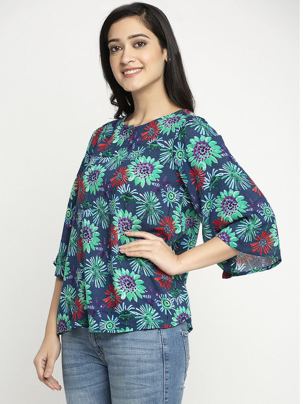 Ayaany Women Blue Casual A Line Top