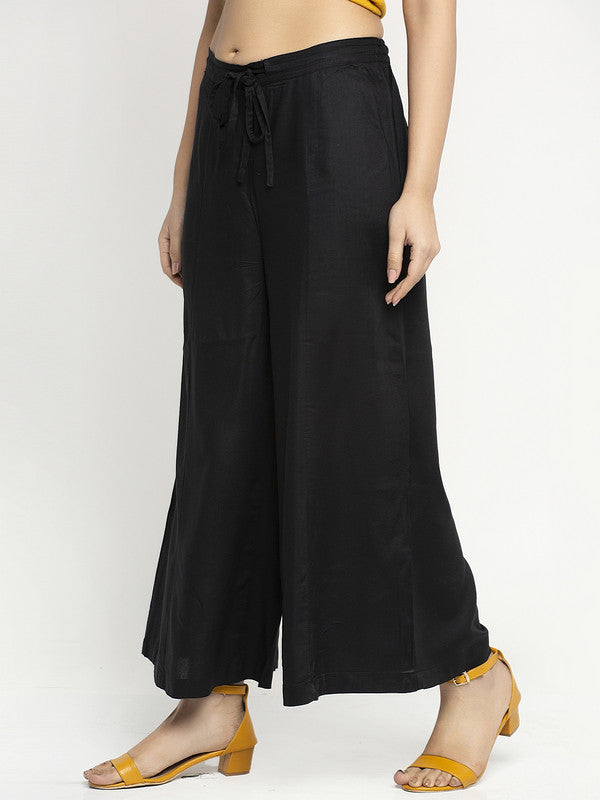 Ayaany Women Black Casual Plain Flare Plazzo