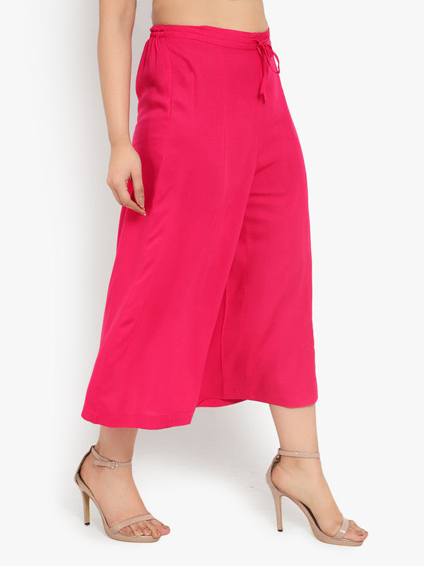 Ayaany Women's Pink Casual Plain Flare Calf Length Palazzo