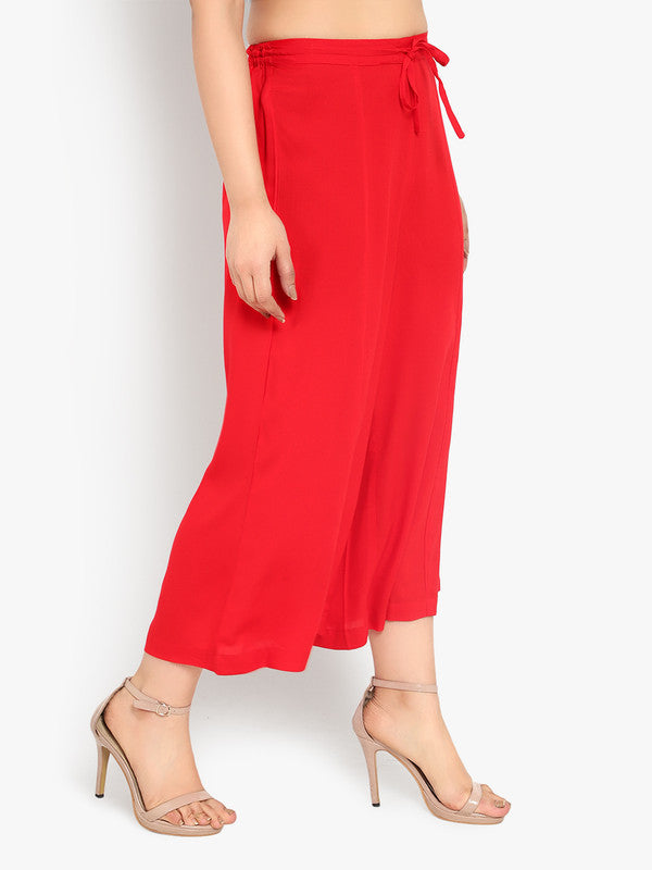 Ayaany Women's Red Casual Plain Flare Calf Length Palazzo