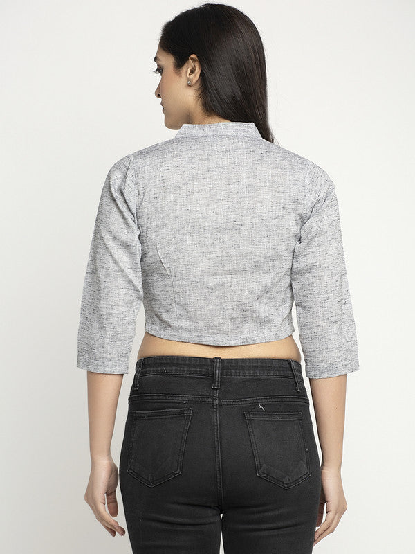Ayaany Women Grey Summer Crop Top