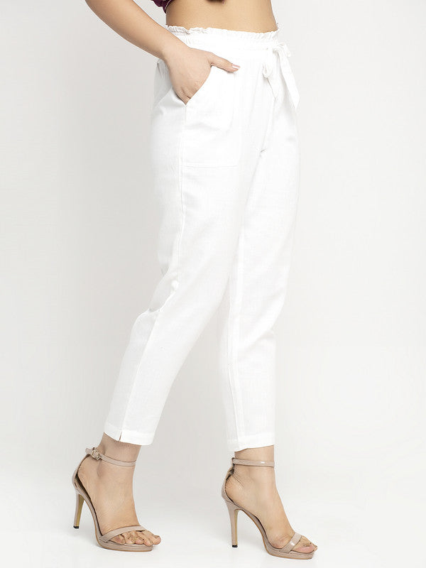 Ayaany Women All Purpose Casual White Pants with Smart Fit