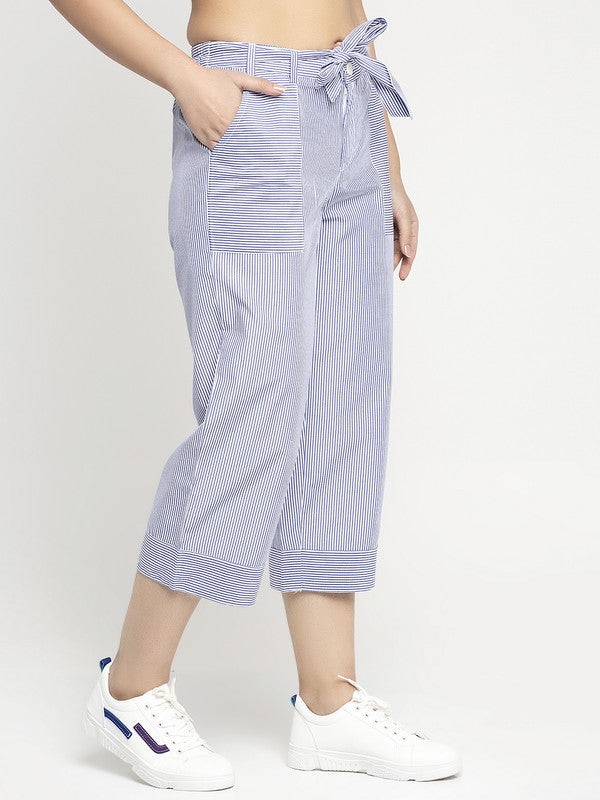 Ayaany Women All Purpose Capri Blue Summer Pants with Smart Fit