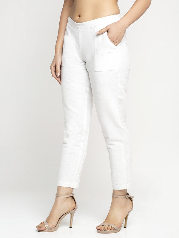 Ayaany Women All Purpose Casual Summer White Pants with Smart Fit