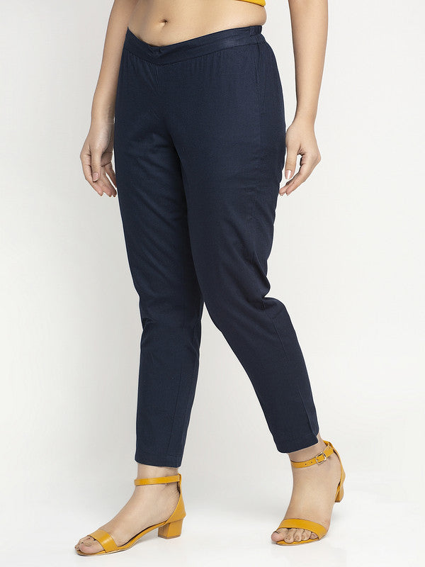 Ayaany Women All Purpose Casual Navy Blue Pants with Smart Fit
