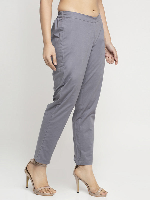 Ayaany Women All Purpose Casual Grey Pants with Smart Fit