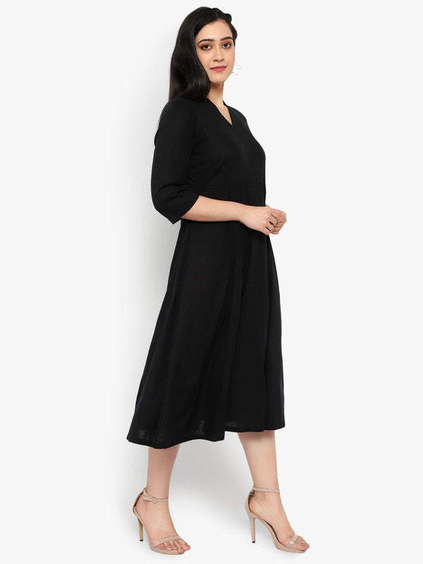 Ayaany Women Black Smart Casual Dress